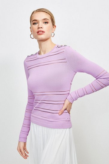 Lilac Sheer Stripe Knit Jumper