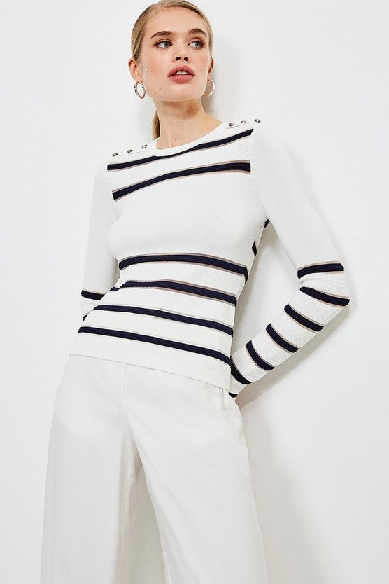 Navy Nautical Sheer Stripe Knit Jumper