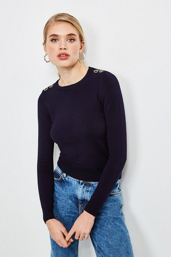 Navy Trim Detail Knitted Top