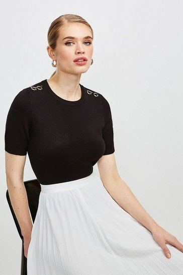 Black Short Sleeve Trim Detail Knitted Top