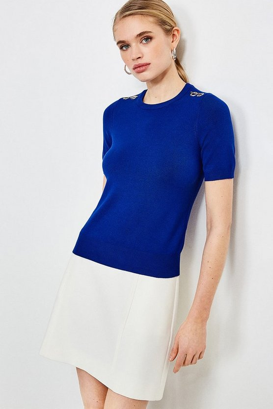 Cobalt Short Sleeve Trim Detail Knitted Top