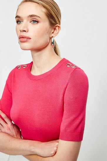 Hot pink Short Sleeve Trim Detail Knitted Top