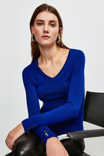 Cobalt Silver Popper V Neck Jumper