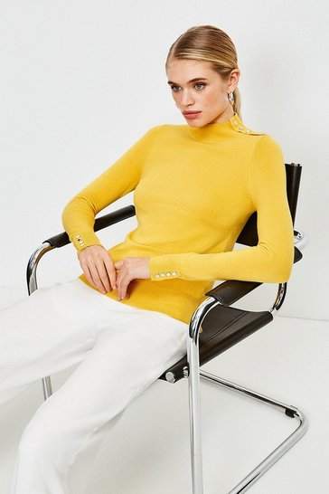 Yellow Silver Popper Turtle Neck Jumper