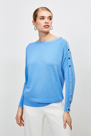 Pale blue Silver Popper Slouchy Jumper