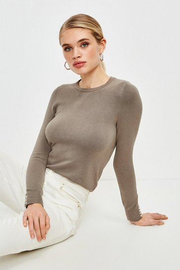 Sage Silver Popper Crew Neck Jumper