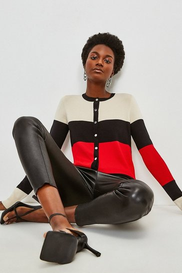 Red Colour Block Knitted Cardigan