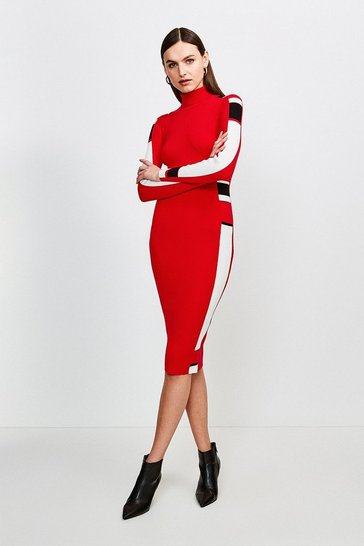 Red Colour Block Knit Dress