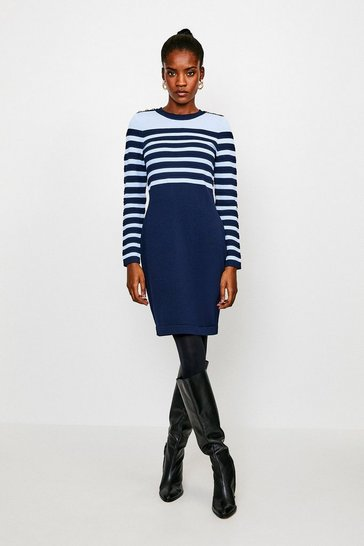 Navy Button and Stripe Knitted Dress