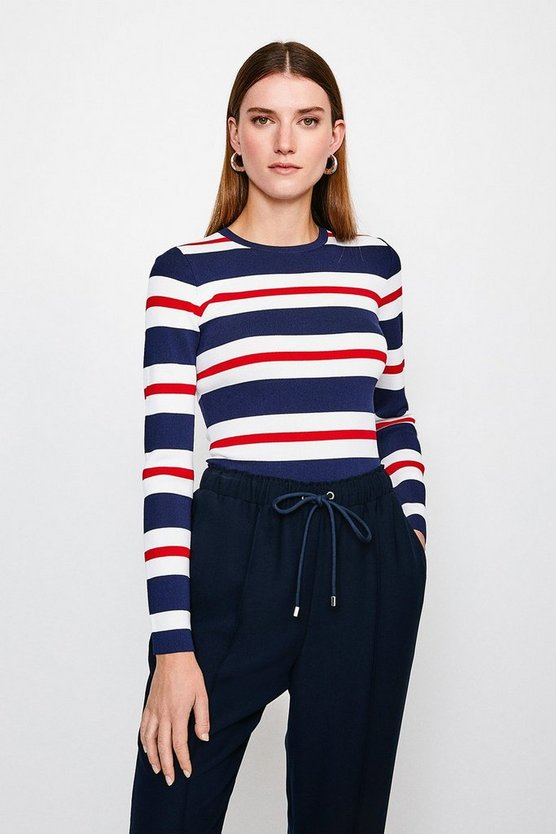 Red Stripe Rib Knitted Jumper