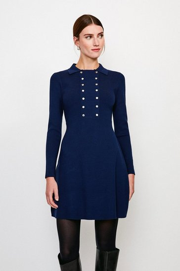Navy Double Rivet Front Knitted Dress