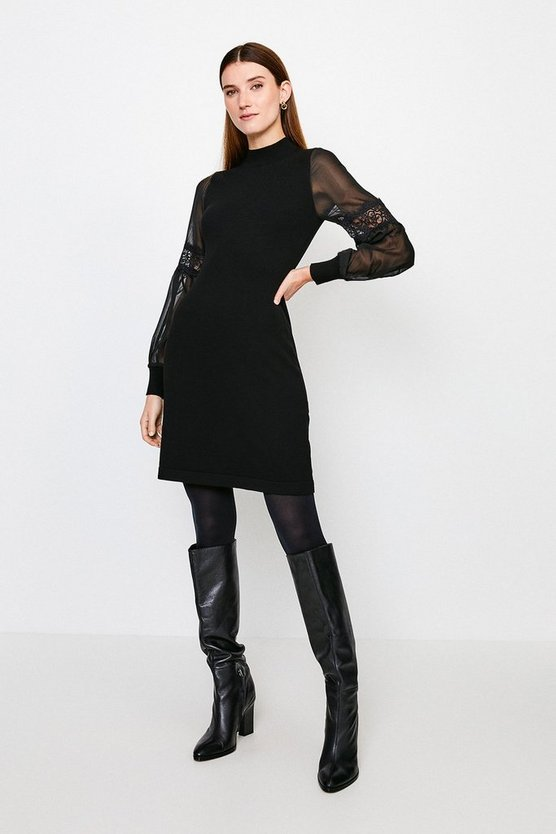 Black Sheer Sleeve Lace Knitted Dress