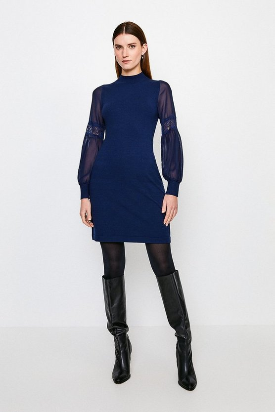 Navy Sheer Sleeve Lace Knitted Dress
