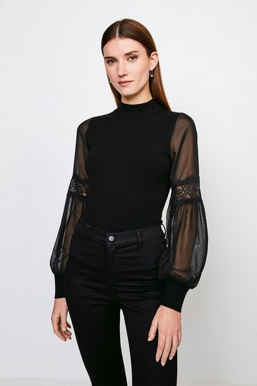 Black Sheer Sleeve Lace Knitted Top