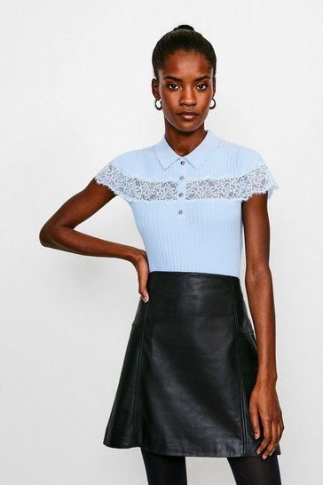 Pale blue Lace Insert Collared Knit Top