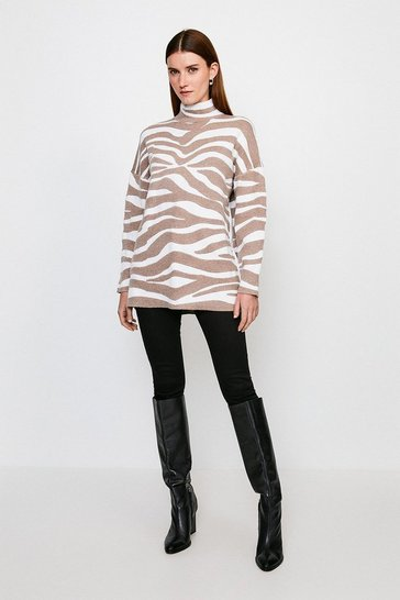 Natural Jacquard Oversized Jumper
