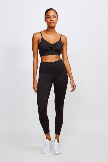 Black Ruched Back Plain Sports Legging