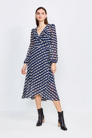 Blue Geo Print Wrap Dress