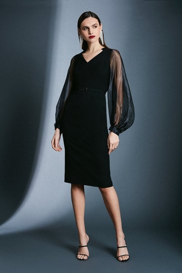 Black Structured Crepe Blouson Sleeve Bar Belt Dress