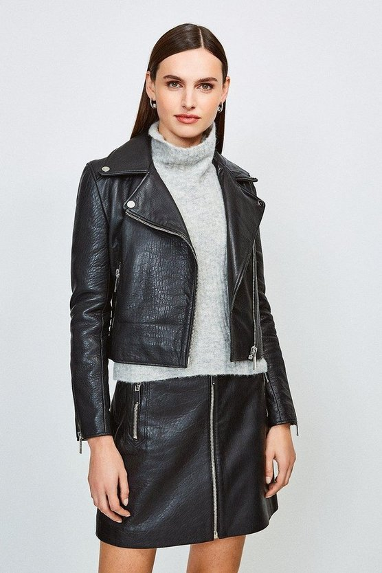 Black Textured Leather Jacket