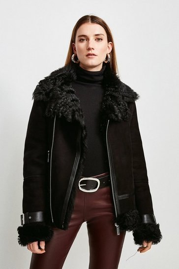 Black Shearling Aviator Coat