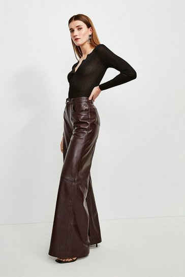 Fig Leather Wide Leg Trouser