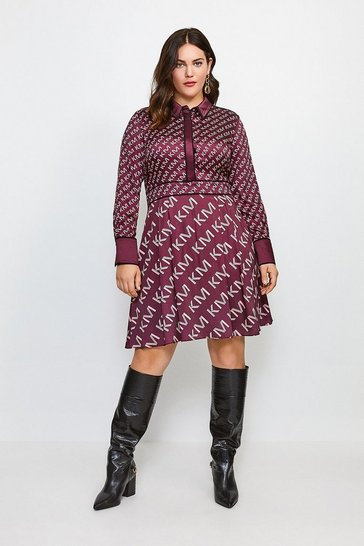 Burgundy Curve Satin Logo Shirt Dress