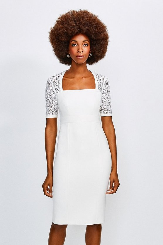 Ivory Square Neck Sleeved Lace Forever Dress