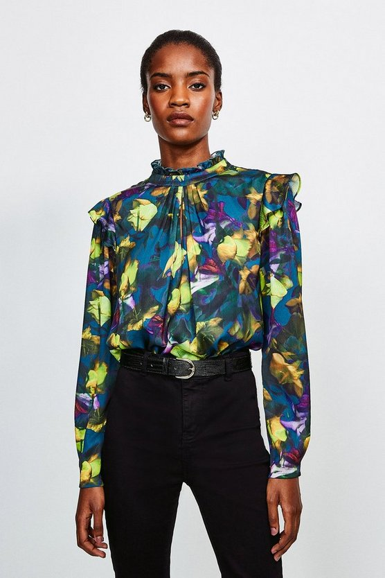 Green Neon Rose Long Sleeve Blouse