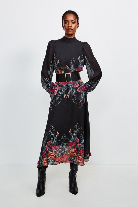 Black Bold Floral Midi Dress