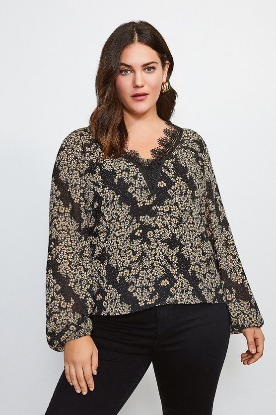 Curve Ditsy Floral and Lace Blouse