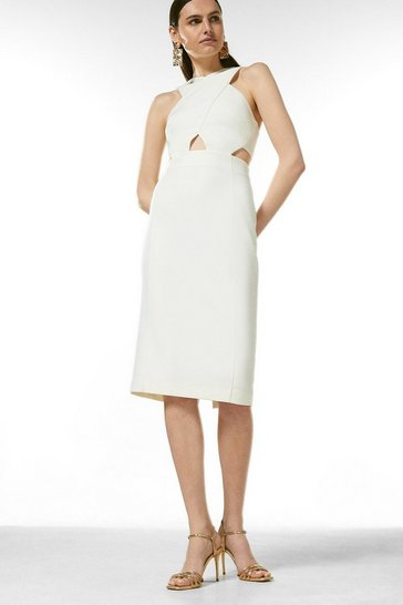Ivory Figure Form Crepe Cross Front Dress