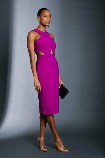Purple Scuba Crepe Cross Front Dress