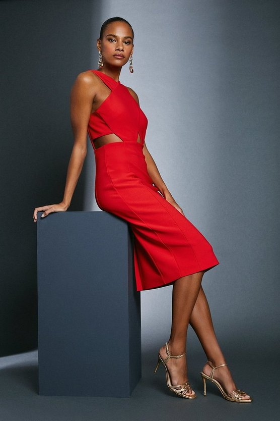 Red Scuba Crepe Cross Front Dress