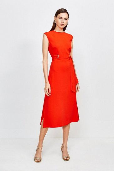 Red Eyelet Detail Midi Dress