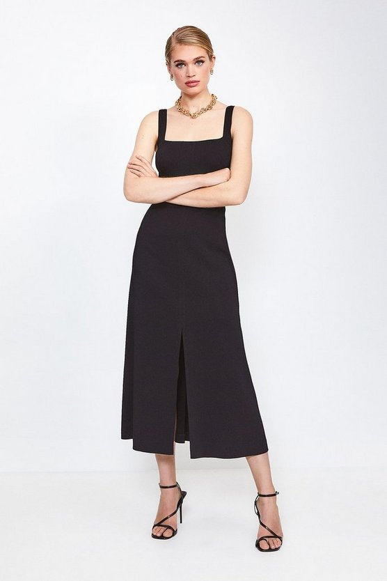 Black Panelled Fluid Midi Dress