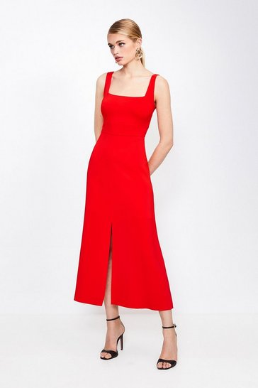 Red Panelled Fluid Midi Dress