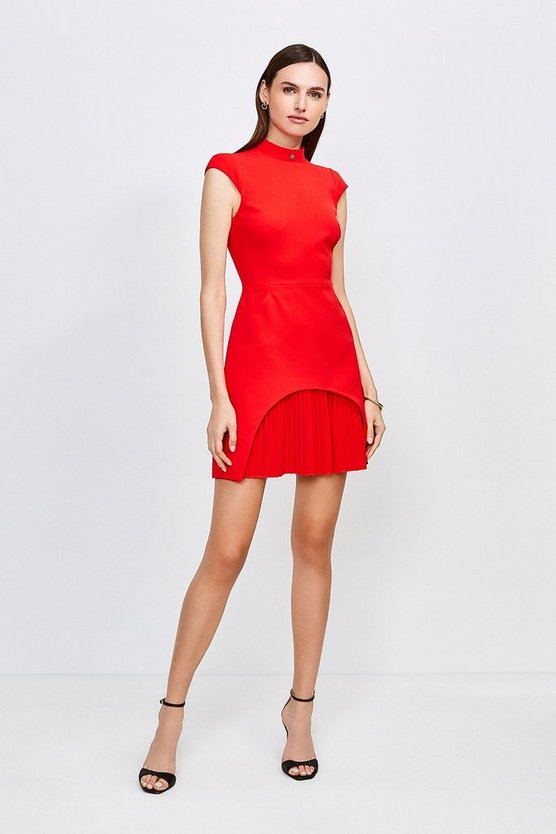 Red Military Tailored Dress