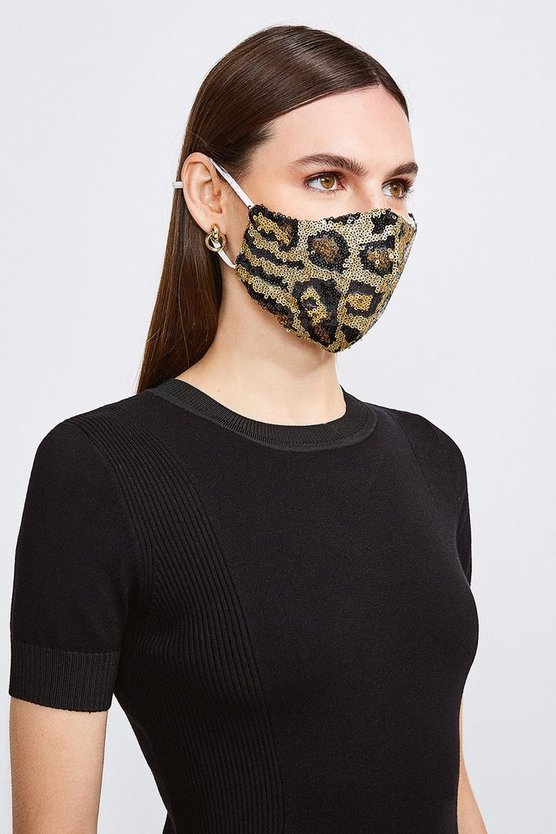 Brown Sequin Leopard Fashion Face Mask