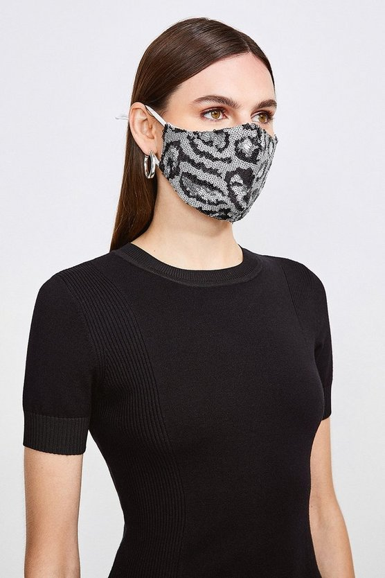Grey Sequin Leopard Fashion Face Mask