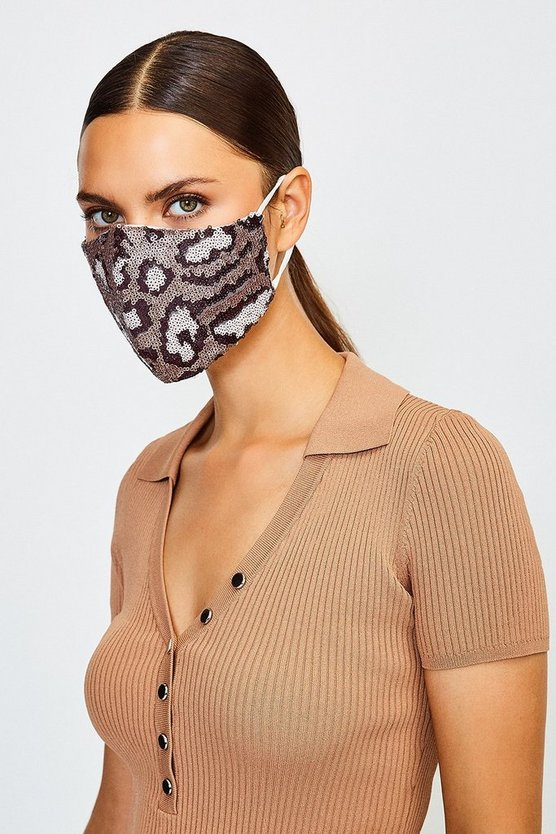 Silver Sequin Leopard Fashion Face Mask