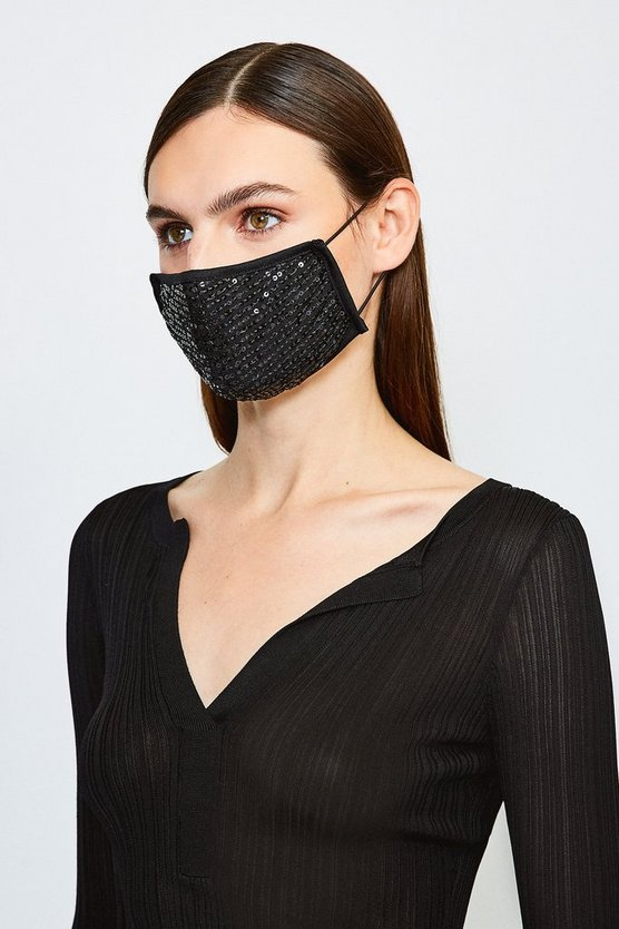 Navy Fashion Sequin Face Mask