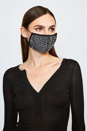 Grey Fashion Sequin Face Mask