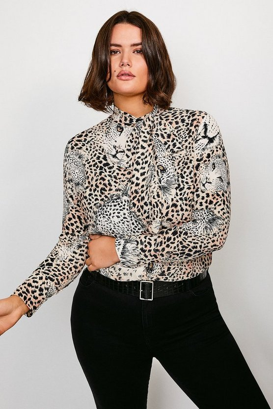 Curve Leopard Pussy Bow Blouse
