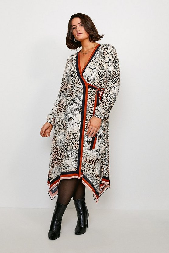 Curve Leopard Print Wrap Dress