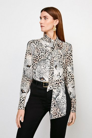 Leopard Border Pussy Bow Blouse