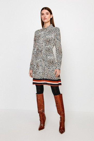 Leopard Border Print Shirt Dress