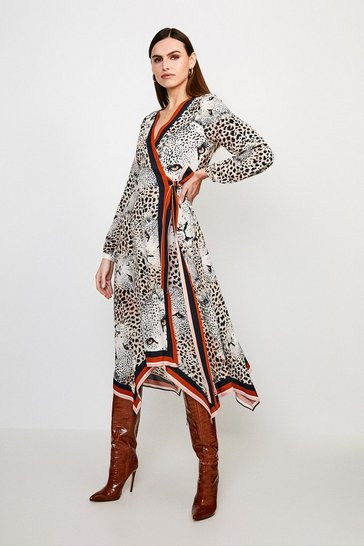 Leopard Border Print Wrap Dress