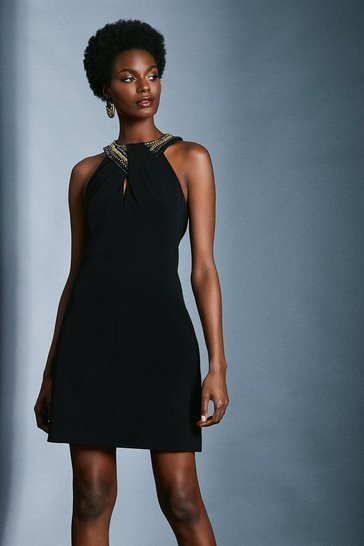 Black Chain And Embellished Detail Halter Dress