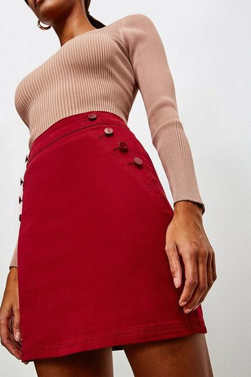 Red Stretch Twill Button Detail Skirt
